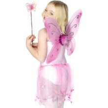 Smiffy's Butterfly Wings With Wand, Flower And Glitter Trim - Pink -  wings butterfly fairy wand fancy dress girls accessory pink fairytale smiffys