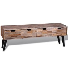 Console TV Cabinet with 4 Drawers Reclaimed Teak