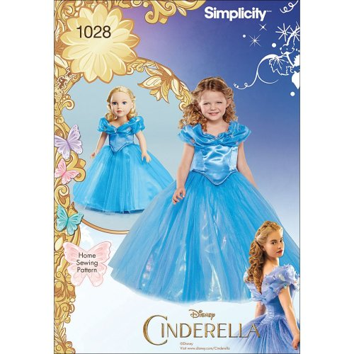 SIMPLICITY DISNEY CINDERELLA COSTUME FOR CHILD AND 18 DOLL-3-4-5-6-7-8