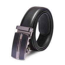 120CM Men's Automatic Buckle Leather Casual Business Black Belt