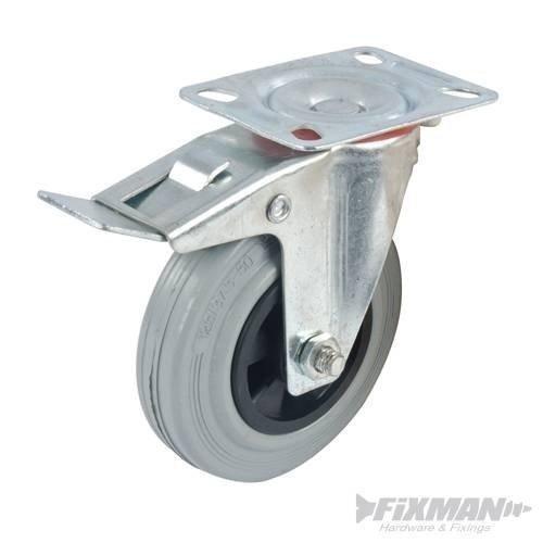 Fixman Braked Swivel Rubber Castor 125mm 100kg - Castor Rubber 100kg 125mm -  castor fixman rubber 100kg 125mm braked swivel 663584
