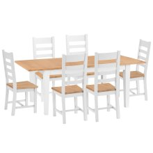 Chester White Painted Oak 1.6m Butterfly Extending Table & 6 Wooden Seat Chairs