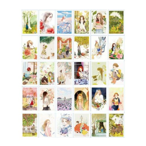 Retro Card Collection Set Postcard Hand Set Painting Greeting Card