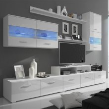 vidaXL Seven Piece TV Unit with LED 250 cm High Gloss White