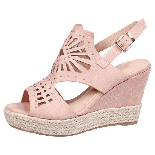 Sharon Ladies Studded Cut Out Peep Toe Slingback Platform Mid Wedge Heel Sandals