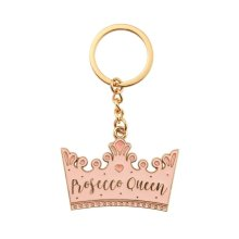 Pink Prosecco Queen Crown Enamel Keyring Stocking Filler