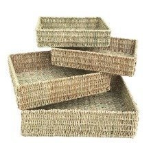 Set of 4 Rectangular Seagrass Tray