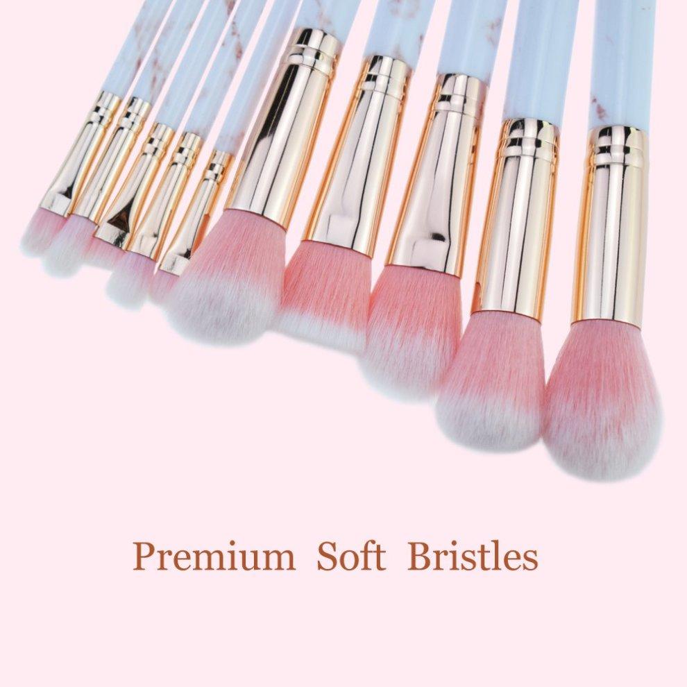 c335c6990c2e Pink Make Up Brushes Professional 10 Pieces Marble Pattern Makeup Brushes  Set Foundation Blush Powder Eyeshadow Blending Brushes Cosmetic Brush Kit...