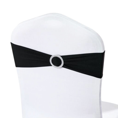 10PCS Chair Back Wedding Bow Sashes Chair Cover Bands With Buckle-Black