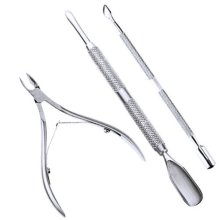 3 Pcs Stainless Steel Nail Cuticle Remover Spoon Pusher Nipper Clipper Set