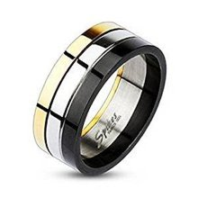 Grooved Black Gold Silver Plated Stainless Steel Band Ring 8mm Width