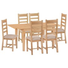 Canterbury Light Oak 1.2m Butterfly Extending Table & 6 Fabric Seat Chairs