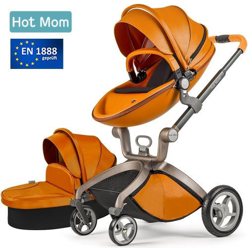 Hot Mom Pushchair 2018, 3 in 1 Baby Stroller Travel System With Bassinet brown(black)