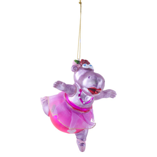 Ballet Dancing Hippo Glass Christmas Tree Bauble