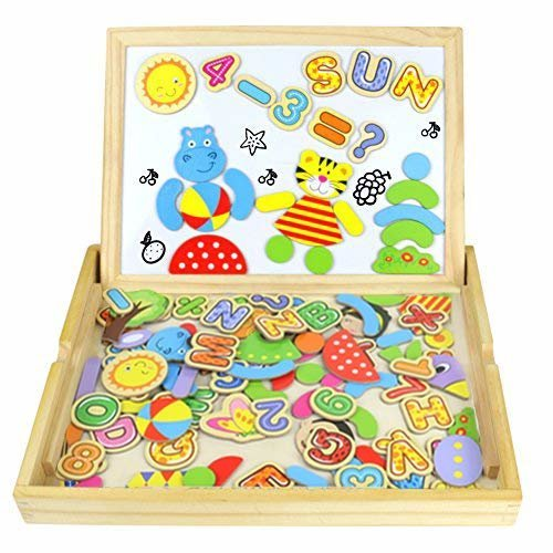 Magnetic Drawing Board Wooden Jigsaw Puzzles Double Sided Blackboard Numbers And Alphabet Game Magnetic Puzzle Board For Kids Up 3 Years Old 100pcs