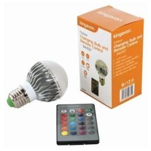 Colour Changing Household Bulb With Remote Control, 5w E27 -  bulb colour changing household remote control 5w e27 16 colours rgb
