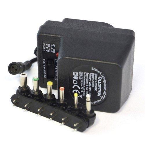 Lloytron A1506BK 300mA Unregulated AC/DC Multi Voltage Adaptor