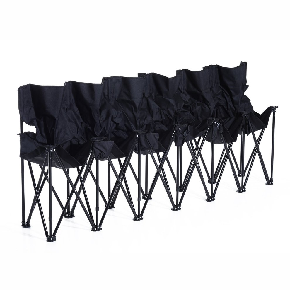Incredible Outsunny 6 Seat Folding Camping Multi Deck Chair Black W Cup Holder Carry Bag Dailytribune Chair Design For Home Dailytribuneorg