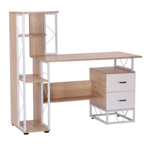 size 40 48485 bcea4 Homcom Computer Desk Pc Workstation W/2 Drawers Multi-shelves Office  Furniture