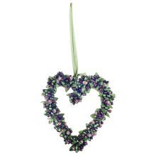 Artificial Frosted Green Berry Hanging Heart Christmas Decoration