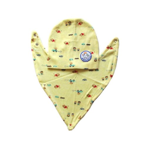 Yellow Style with Cute Cartoon Pattern Baby Suit Bib and Hood