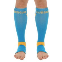 Set of 2 Leg Guard Sports Safety Leg Sleeve Protector Free Size,Blue/Yellow