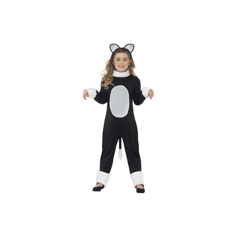 cool cat costume, black, with jumpsuit, tail & headpiece - cat