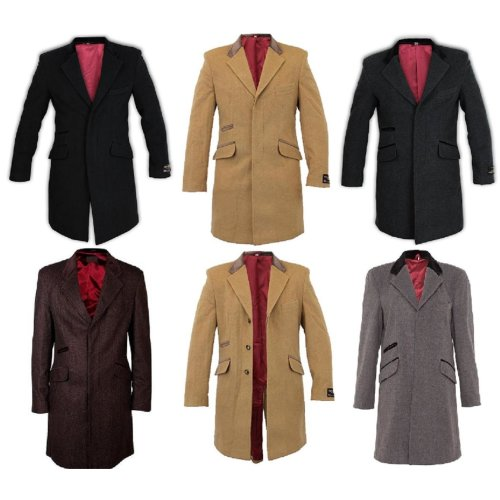 De La Creme MAN - Mens Covert Retro Mod Crombie Coat