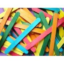 Wooden Craft Sticks Bag Of 250 Asst Cols -  bag 250 assorted colour wooden craft sticks