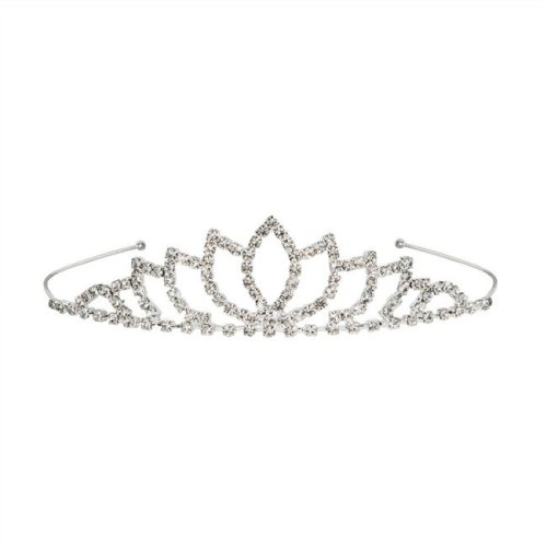 Beistle 60074 Royal Rhinestone Tiara, White - Pack of 6