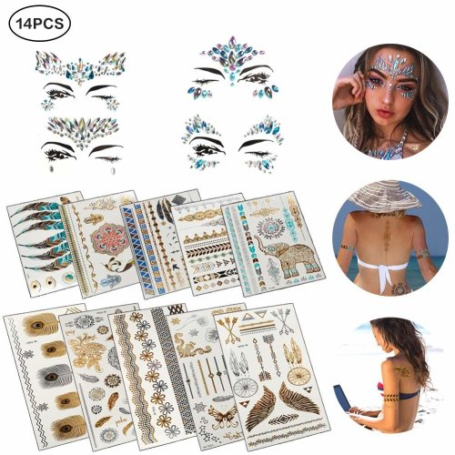 Face Jewels Temporary Tattoos, 4 PCS Self-adhesive Rhinestone Face Jewels with 10 PCS Waterproof Temporary Tattoo for Women Kids Men Girls Boys by...