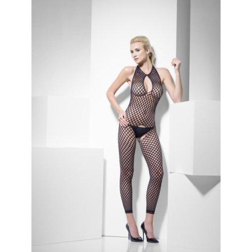 Black Polka Dot Body Stocking -  polka dot body stocking smiffys fishnet bodysuit underwear black