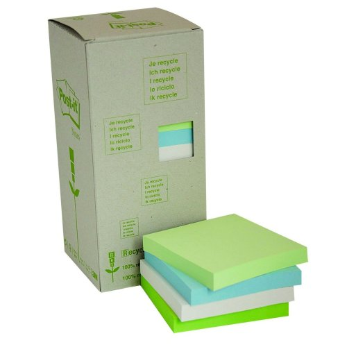 Post-it Recycled Notes - Pastel Rainbow Light Green, Grass Green, Grey - Tower Pack Of 16 Pads - 100 Sheets Per Pad - 76 mm x 76 mm