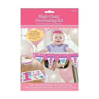 Amscan Baby Girls 1st Birthday High Chair Decorating Kit