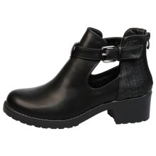 Tristana Womens Low Block Heel Chunky Cut Out Ankle Boots