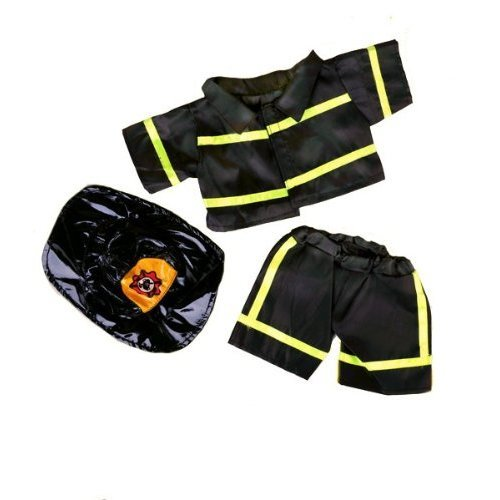 "Black Firefighter wHat Teddy Bear Clothes Fits Most 14""  18"" BuildABear, Vermont Teddy Bears, and Make Your Own Stuffed Animals"