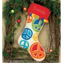 D72-08178 - Dimensions Felt Applique - Stocking: Peace Signs