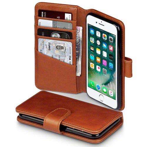 TERRAPIN iPhone 8/iPhone 7 Case iPhone 8 Leather Case - GENUINE LEATHER - Executive Folio Wallet Cover Flip - Viewing Stand - Card Slots - Bill...