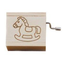 Mini Hand Crank Music Box Wooden Music Box Children Gift Height Approx 1.5 Inch