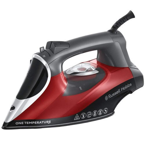 Russell Hobbs 25090 One Temperature Iron | Red & Black All-Fabric Iron