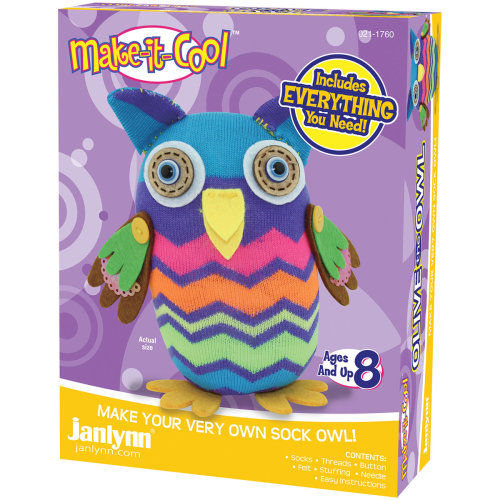 Janlynn Sock Animal Kit-Olive The Owl