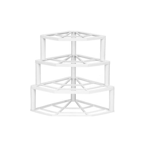 White 4-Tier Corner Plate Stand | Tiered Corner Plate Rack