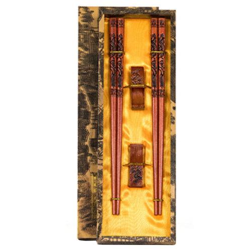 Chopsticks Reusable Set - Asian-style Natural Wooden Chop Stick Set with Case as Present Gift,J