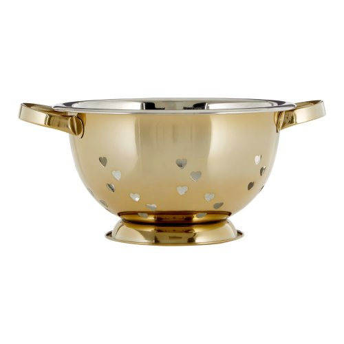 Colander with Hearts Design, Gold
