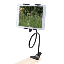 360 Degree Rotation Tablet Stand Holder with Adjustable Clamp Clip - Black
