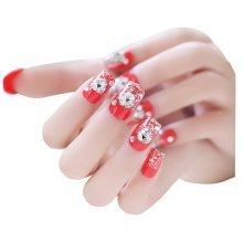 2 Boxes(48 Pieces)Classical Wedding DIY 3D Design False Nails, Red Crystal