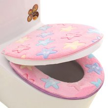 2 PCS Stylish Toilet Lid/Toilet Seat Cover,Winter Warmer/Soft Cushion Star Pink
