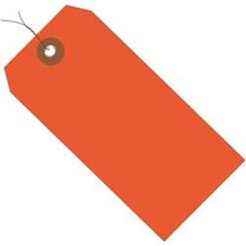 Box Partners G26060W 6.25 x 3.12 in. Orange Plastic Shipping Tags - Pre-Wired - Pack of 100