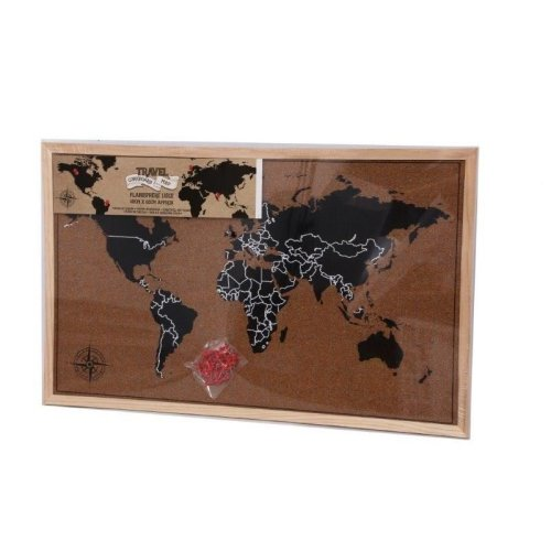 40X60 Framed Cork Board World Map With Pins