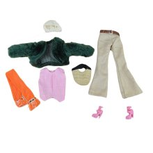 7 Pieces Doll Clothes Doll Outfits - Elegant Fake Fur Coat Set with Handbag
